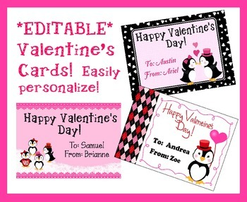 *EDITABLE* Penguin Valentine's Cards for Students, Staff!