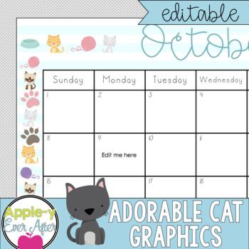EDITABLE Perfect Cats Theme Calendar - Teacher/Parent Monthly Newsletter