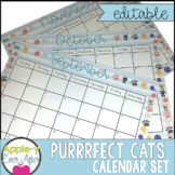 EDITABLE Perfect Cats Theme Calendar - Teacher/Parent Monthly Newsletter