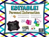 EDITABLE! Personal Information (Tracing Edition)