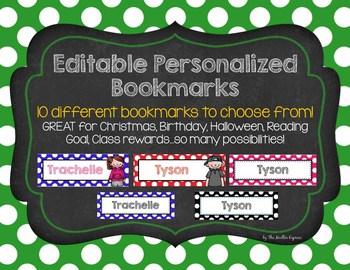 EDITABLE Personalized Bookmarks, Name plates - Rewards, Christmas, Birthday Gift