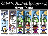 EDITABLE Personalized Student Bookmarks - Winter Theme