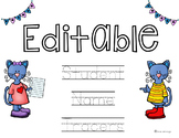 EDITABLE The Cool Cat Name Tracers