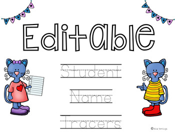 EDITABLE Pete the Cat Name Tracers