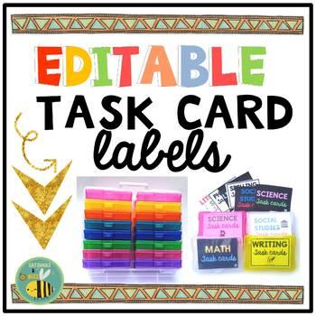 EDITABLE Task Card Labels {IRIS 4x6 Craft cases}