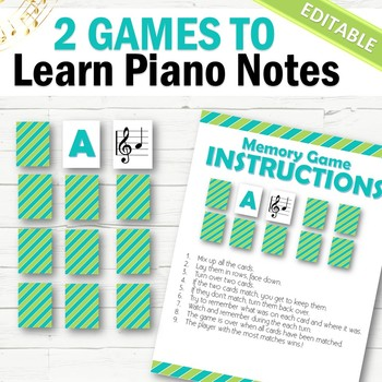 EDITABLE Piano Games to Learn Notes - INSTANT DOWNLOAD
