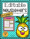 EDITABLE Pineapple Newsletters in Color