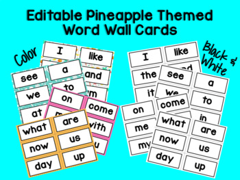 EDITABLE Pineapple Themed Complete Word Wall Set