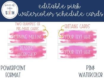 EDITABLE Pink Watercolor Schedule Cards