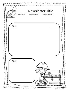 EDITABLE Pirate Newsletters, certificate, and template