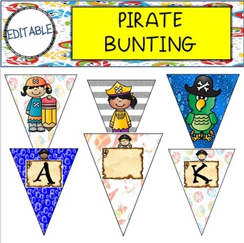 EDITABLE Pirate Themed Bunting/Banner