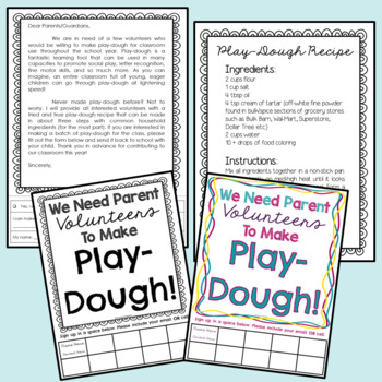 EDITABLE Play-Dough Recipe and Parent Letter