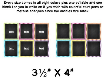 EDITABLE Polka Dot with Chalkboard Center Labels-Tags-Task Cards-etc....