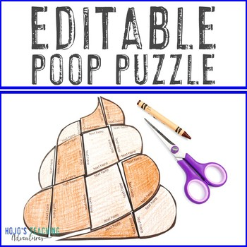 EDITABLE Poop Puzzle   Create your own activities on ANY topic!