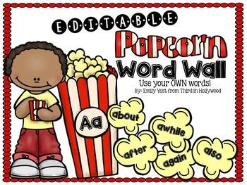 EDITABLE Popcorn Word Wall + Banner