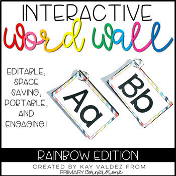EDITABLE Interactive and Portable Word Wall Books (Rainbow)