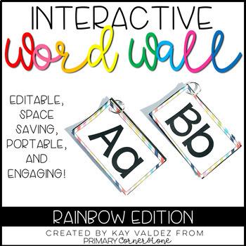 Portable Word Wall-Interactive Word Wall-EDITABLE (Rainbow)