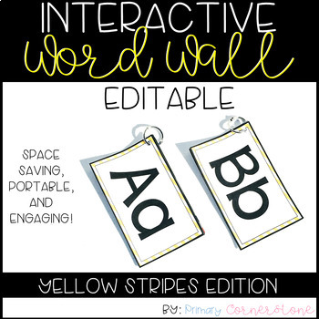 Portable Word Wall-Interactive Word Wall-EDITABLE (Yellow Stripes)