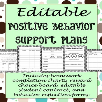 EDITABLE Positive Behavior Support Plan Templates by Ashley Brennan
