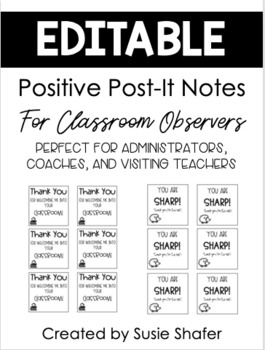 EDITABLE Positive Post-It Notes for Classroom Observers