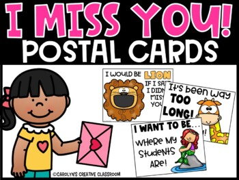 EDITABLE Post Cards: I miss you! [Send students cards to their home!]
