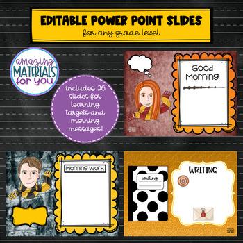 EDITABLE Power Point Slides for Harry Potter Learning Targets