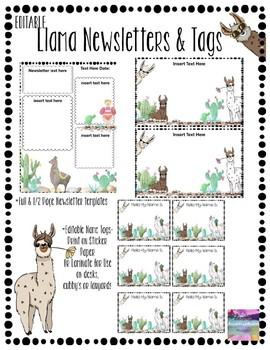 Editable Powerpoint Llama Cactus Newsletter Tag Templates Tpt
