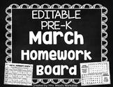 EDITABLE Pre-K March Homework Board