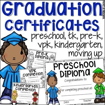 EDITABLE Preschool Diploma & Completion (Pre-K, TK, VPK, Kinder ...