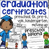 EDITABLE Preschool Graduation Certificates (Pre-K, TK, VPK, Kinder, & Moving Up)