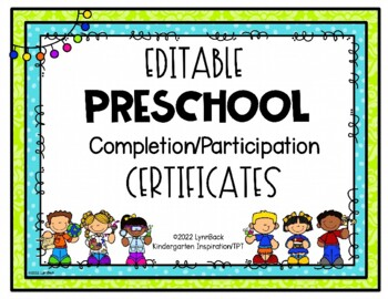 EDITABLE Preschool Graduation Certificate   TpT