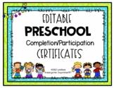 EDITABLE Preschool Graduation Certificate