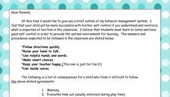 EDITABLE Primary Disciplin Plan with Consequences and a Parent Signature Line