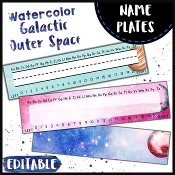 Space Theme Name Plates { Watercolor } - Editable