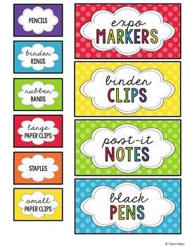 EDITABLE - Primary Polka Dot Teacher Tool Box Labels
