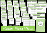 EDITABLE Printable Teacher Planner - GREEN Chevron