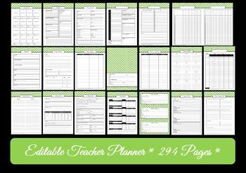 EDITABLE Printable Teacher Planner - GREEN Chevron