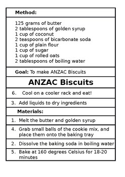 EDITABLE Procedural Writing ANZAC Biscuits Ordering Activity