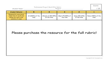 EDITABLE - Professional Work Ethic Rubric