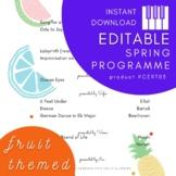 EDITABLE Programme Template - Fresh Fruity Theme - Printable PDF