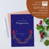EDITABLE Programme Template - Royal Winter Theme - Printable PDF