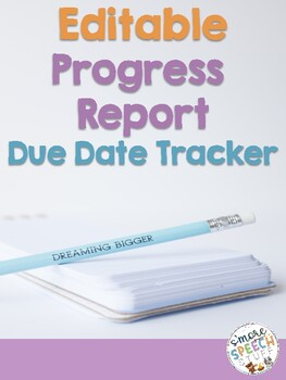 EDITABLE Progress Report Tracker for Teachers, Specialists and Special Educators