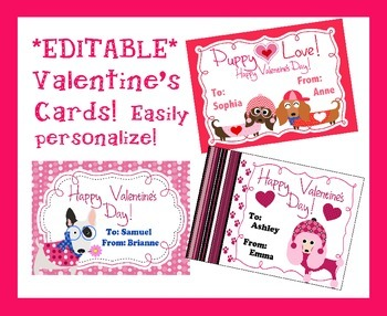 *EDITABLE* Puppy Dog Valentine's Cards for Students, Staff! EASY to Personalize
