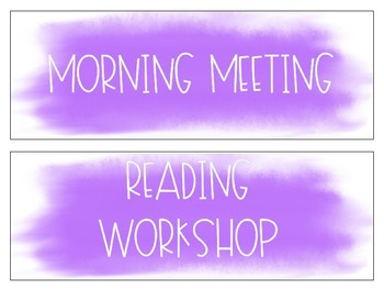 EDITABLE Purple Watercolor Schedule Cards