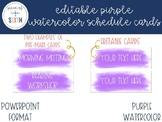 EDITABLE Purple Watercolor Schedule Cards
