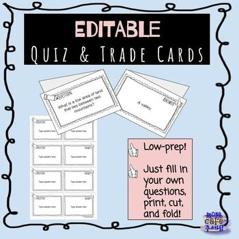 EDITABLE cooperative learning quiz trade cards