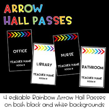 EDITABLE Rainbow Arrow Hall Passes : Classroom Decor