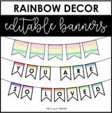 EDITABLE Rainbow Banner   Rainbow Letters {Rainbow Classroom Decor}