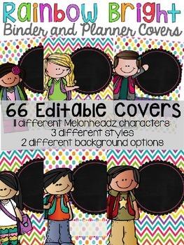 {EDITABLE} Rainbow Bright Binder Covers