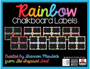 EDITABLE Rainbow Chalkboard Labels